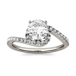 1.37 CTW DEW Round Forever One Moissanite Swirl Bypass Engagement Ring 14K White Gold