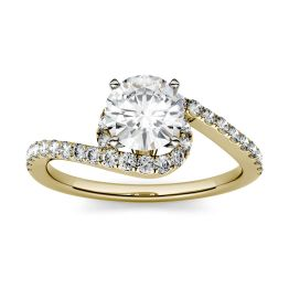 1.37 CTW DEW Round Forever One Moissanite Swirl Bypass Engagement Ring 14K Yellow Gold