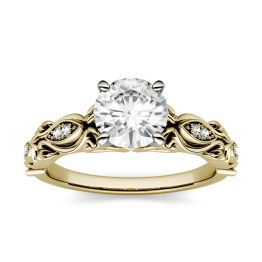 1.07 CTW DEW Round Forever One Moissanite Solitaire with Side Accents Engagement Ring 14K Yellow Gold