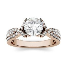 1.56 CTW DEW Round Forever One Moissanite Triple Row Solitaire with Side Accents Ring 14K Rose Gold