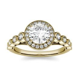 1.37 CTW DEW Round Forever One Moissanite Milgrain Halo Engagement Ring 14K Yellow Gold