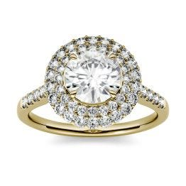 1.70 CTW DEW Round Forever One Moissanite Double Halo Engagement Ring 14K Yellow Gold