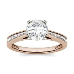 1.66 CTW DEW Round Forever One Moissanite Milgrain Solitaire with Side Accents Engagement Ring 14K Rose Gold