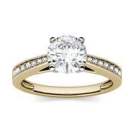 1.16 CTW DEW Round Forever One Moissanite Milgrain Solitaire with Side Accents Engagement Ring 14K Yellow Gold