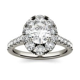 1.80 CTW DEW Round Forever One Moissanite Halo with Side Accents Engagement Ring 14K White Gold