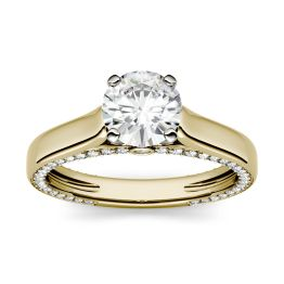 1.53 CTW DEW Round Forever One Moissanite Solitaire with Side Accents Engagement Ring 14K Yellow Gold