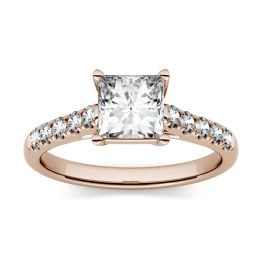 1.92 CTW DEW Square Forever One Moissanite Solitaire with Side Accents Engagement Ring 14K Rose Gold