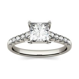 1.72 CTW DEW Square Forever One Moissanite Solitaire with Side Accents Ring 14K White Gold