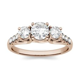 4.14 CTW DEW Round Forever One Moissanite Trellis Three Stone Ring 14K Rose Gold