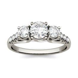 4.14 CTW DEW Round Forever One Moissanite Trellis Three Stone Ring 14K White Gold
