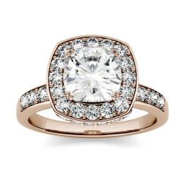 3.10 CTW DEW Cushion Forever One Moissanite Channel Set Halo with Side Accents Engagement Ring 14K Rose Gold