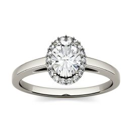 1.66 CTW DEW Oval Forever One Moissanite Halo Engagement Ring 14K White Gold