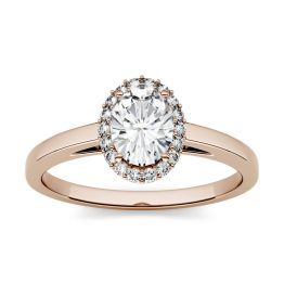 1.66 CTW DEW Oval Forever One Moissanite Halo Engagement Ring 14K Rose Gold