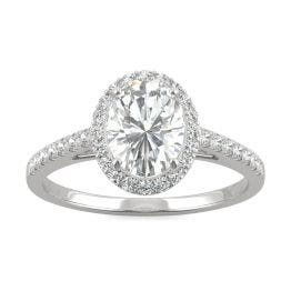 1.77 CTW DEW Oval Forever One Moissanite Halo with Side Accents Engagement Ring 14K White Gold