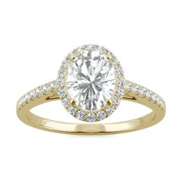 1.16 CTW DEW Oval Forever One Moissanite Halo with Side Accents Engagement Ring 14K Yellow Gold