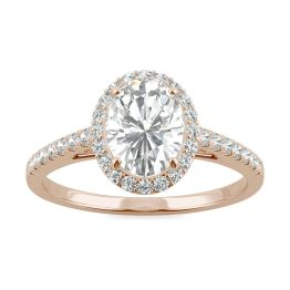 1.16 CTW DEW Oval Forever One Moissanite Halo with Side Accents Engagement Ring 14K Rose Gold