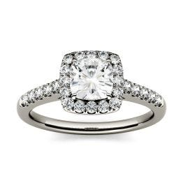 1.66 CTW DEW Cushion Forever One Moissanite Halo with Side Accents Engagement Ring 14K White Gold