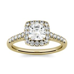 1.66 CTW DEW Cushion Forever One Moissanite Halo with Side Accents Engagement Ring 14K Yellow Gold