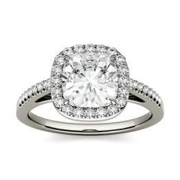 1.97 CTW DEW Cushion Forever One Moissanite Halo with Side Accents Engagement Ring 14K White Gold