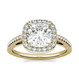 1.97 CTW DEW Cushion Forever One Moissanite Halo with Side Accents Engagement Ring 14K Yellow Gold