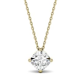0.50 CTW DEW Cushion Forever One Moissanite Solitaire Pendant Necklace 14K Yellow Gold