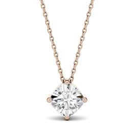 1.70 CTW DEW Cushion Forever One Moissanite Solitaire Pendant Necklace 14K Rose Gold