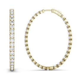 2.20 CTW DEW Round Forever One Moissanite Oval Hoop Earrings 14K Yellow Gold