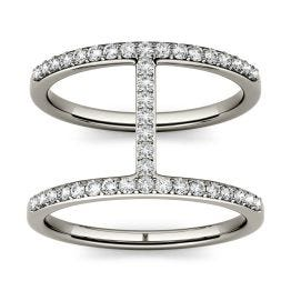 0.41 CTW DEW Round Forever One Moissanite Double Band Geometric Fashion Ring 14K White Gold