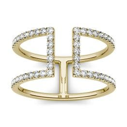 0.50 CTW DEW Round Forever One Moissanite Open Geometric Fashion Ring 14K Yellow Gold