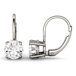 3.80 CTW DEW Round Forever One Moissanite Leverback Earrings 14K White Gold