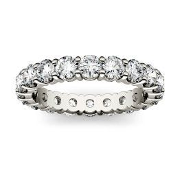 2.10 CTW DEW Round Forever One Moissanite Shared Prong Eternity Band Ring 14K White Gold
