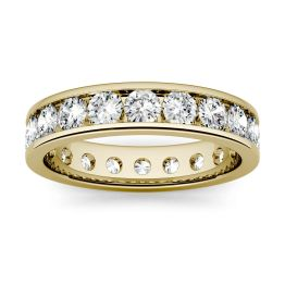 1.80 CTW DEW Round Forever One Moissanite Channel Set Eternity Band Ring 14K Yellow Gold
