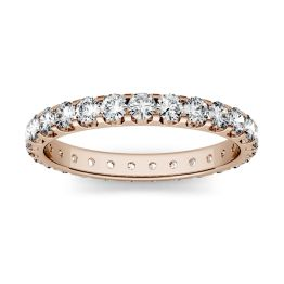 1.12 CTW DEW Round Forever One Moissanite Eternity Band 14K Rose Gold