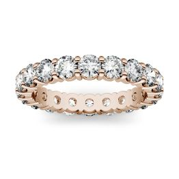 1.80 CTW DEW Round Forever One Moissanite Shared Prong Eternity Band Ring 14K Rose Gold