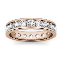 1.80 CTW DEW Round Forever One Moissanite Channel Set Eternity Band Ring 14K Rose Gold