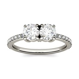 1.20 CTW DEW Round Forever One Moissanite Two Stone with Side Accents Ring 14K White Gold