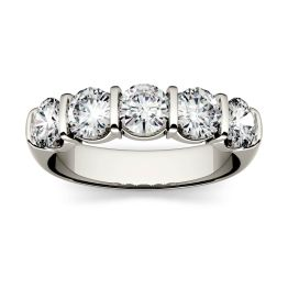 1.65 CTW DEW Round Forever One Moissanite Five Stone Band Ring 14K White Gold