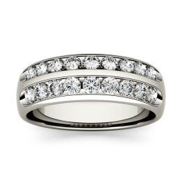 0.72 CTW DEW Round Forever One Moissanite Double Row Anniversary Band Ring 14K White Gold