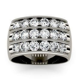2.88 CTW DEW Round Forever One Moissanite Triple Row Anniversary Band Ring 14K White Gold