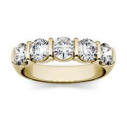 1.65 CTW DEW Round Forever One Moissanite Five Stone Band Ring 14K Yellow Gold