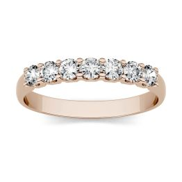 0.42 CTW DEW Round Forever One Moissanite Shared Prong Seven Stone Band Ring 14K Rose Gold