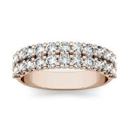 1.32 CTW DEW Round Forever One Moissanite Double Row Anniversary Band Ring 14K Rose Gold