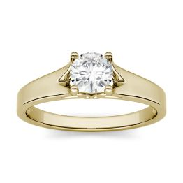 1.50 CTW DEW Round Forever One Moissanite Solitaire Peg Ring 14K Yellow Gold