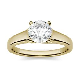 1.90 CTW DEW Round Forever One Moissanite Four Prong Solitaire Engagement Ring 14K Yellow Gold