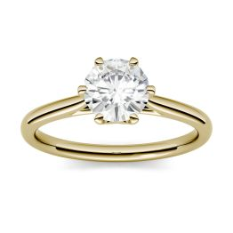 1.00 CTW DEW Round Forever One Moissanite Six Prong Solitaire Engagement Ring 14K Yellow Gold