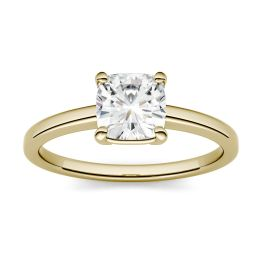 0.60 CTW DEW Cushion Forever One Moissanite Four Prong Solitaire Engagement Ring 14K Yellow Gold