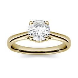 0.51 CTW DEW Round Forever One Moissanite Solitaire Engagement Ring 14K Yellow Gold, SIZE 6.0