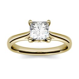 1.00 CTW DEW Square Forever One Moissanite Four Prong Solitaire Engagement Ring 14K Yellow Gold