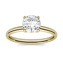 0.50 CTW DEW Round Forever One Moissanite Four Prong Solitaire Engagement Ring 14K Yellow Gold