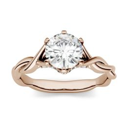 1.11 CTW DEW Round Forever One Moissanite Twisted Band Solitaire with Side Accents Engagement Ring 14K Rose Gold